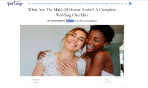 OFD Client Press Featured in Your Tango covering the Maid of Honor duties.
