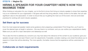 HIRING A SPEAKER FOR YOUR CHAPTER? HERE'S HOW YOU MAXIMIZE THEM